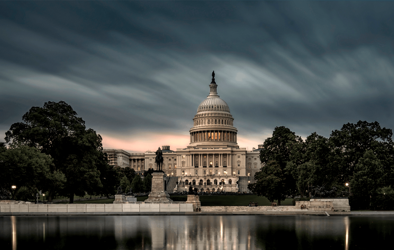 The United States Capitol Building at dusk.